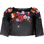 Alberta Ferretti Flower Embroidered Silk Top with 3/4 Sleeves