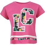 Lee Cooper Tropical Boyfriend T Shirt Ladies, bright pink