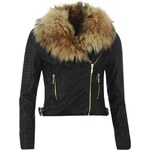 Rock and Rags Faux Fur Collar Biker Jacket, black