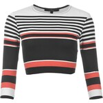 Rock and Rags Stripe Crop Top, blk/white/coral