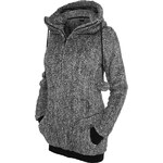 Urban Classics Ladies Melange Teddy Zip Hoody Women Zip Hoodie black white