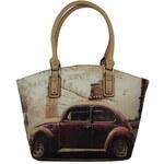 Mahel Stylová retro kabelka na rameno A9168-1A béžovo-meruňková - dle obrázku