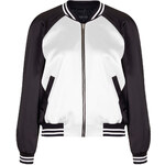 Topshop Panelled Satin Bomber Jacket