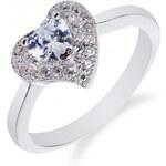 Meucci Drobný stříbrný prsten se srdíčkem a zirkony