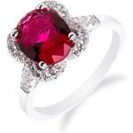 Meucci Stylový stříbrný prsten s rubínem a zirkony