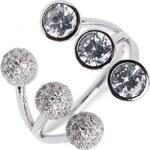 Meucci Stylový stříbrný prsten s velkými a malými zirkony