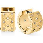 Luxusní náušnice Michael Kors gold crystal monogram MKJ4475