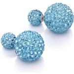 Náušnice 3v1 Perly modré s kamínky C15005