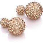 Náušnice 3v1 Perly s kamínky zlaté C15008