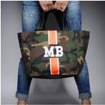Mia Bag Army taška - shopper - oranžový pás, Barva oranžová
