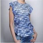 Klixs Jeans Stylové dámské tričko s volánkem, Barva Modrá, Velikost S