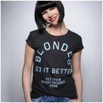 Tee-Trend Dámské tričko - Blondes do it better, Barva Šedě-černá, Velikost XS
