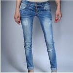 Klixs Jeans Modré slim džíny s knoflíky, Barva Modrá, Velikost 40