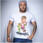 Tee-Trend Trendy pánské tričko s potiskem - PHARRELL - SIMPSONS, Barva bílá, Velikost S