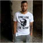 Just Rhyse Pánské stylové tričko bílé - lebka s bradou, Barva bílá, Velikost S
