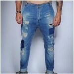 Klixs Jeans Stylové panské džíny s dírami, Barva Modrá, Velikost 48