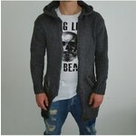 Bangastic Pánský prodloužený svetr na zip s kapucí šedý, Barva Tmavě šedá, Velikost L