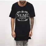 Pánské (unisex) prodloužené tričko NGML černé, Barva černá, Velikost M