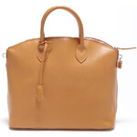 Dámská koňaková kožená kabelka se zámečkem Carla Ferreri