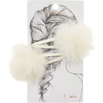 Topshop Fluffy Cream Hair Clips