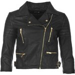 Bunda Firetrap Blackseal Three Quarter Faux Leather Biker dám. černá M