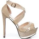 CNB Blýskající zlaté sandály na ples 38