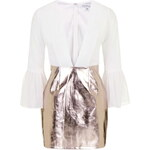 Topshop **Plunge Metallic Bell Sleeve Mini Dress by Rare