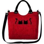 Kabelka Excent Dvě kočky koukají z kapsičky na červené