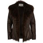 LA FEMME Tmavě hnědá kožená bunda s kožešinovým límcem