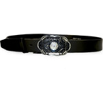 Penny Belts Dámský černý kožený opasek s ozdobnou sponou 11363-c