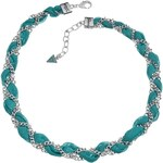 Guess TEAL CHIFFON BRAID CHAIN NECKLACE