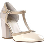 Baťa Bílá pásková obuv na podpatku