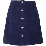 Topshop Cord Popper A-line Skirt