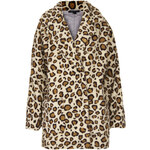 Topshop Leopard Borg Ovoid Coat