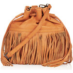Topshop Leather Mix Fringe Duffle Bag