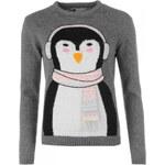 Star Christmas Jumper Ladies, dkgreym-penguin