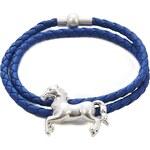Intrigue Kožený náramek s přívěskem koně modrá