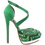 SERGIO TODZI Zelené sandálky se zdobenou špičkou na jehlovém podpatku, vel. 40