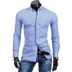 streetIN Modrá pánská košile se vzorovaným lemem Velikost: M