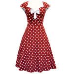 Lady V London dámské šaty Isabella Red Wine Polka velikosti: 38
