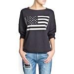 Mango Studded flag sweatshirt