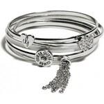 GUESS GUESS Silver-Tone Enamel Charm Bangle Set - silver