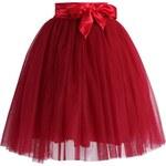 CHICWISH Dámská sukně Tutu Amore rudá s mašlí