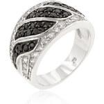 LYRA Prsten s černými a čirými Zirkony R08112T-C03