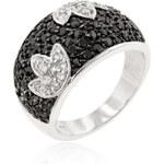 LYRA Prsten s černými a čirými Zirkony R08113T-C03