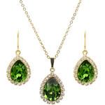 Troli Zlatá štrasová souprava šperků Pear Fern Green