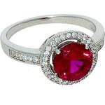 Goldstore Stříbrný prsten kulatý rubín