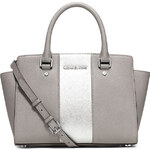 Michael Kors kožená kabelka Selma metallic center stripe medium gray