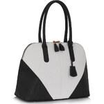 Dámská kabelka LS Fashion s přívěskem LS00331 černo-bílá