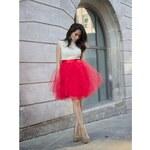 Luxusní tylová sukně Lunicite Červený tulipán L